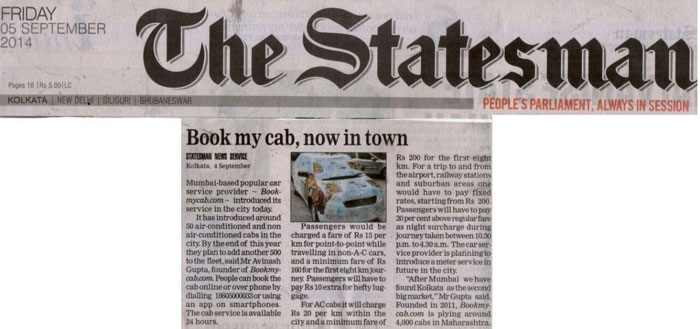 Bookmycab launches Kolkata operations
